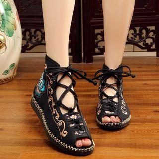 Kyotopia - 绣花系带露趾短靴