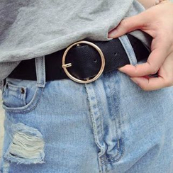 INKLEE - Round Buckle Faux Leather Belt