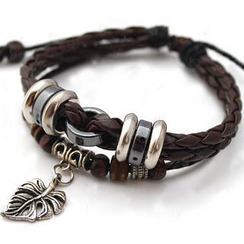 Free Shop - Genuine Leather Charm Bracelet