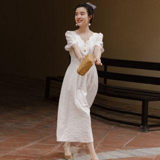 Nebbia - Short-Sleeve Scalloped Midi A-Line Dress