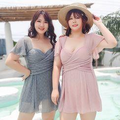 Salanghae - Short Sleeve V-Neck Mesh Swimdress