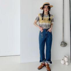 PPGIRL - Button-Hem Straight-Cut Jeans
