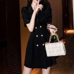 Aurora - Short-Sleeve Double-Breasted Mini A-Line Blazer Dress