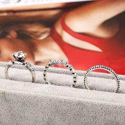 Zibliss - 套裝: 水鑽合金戒指  (多款設計)