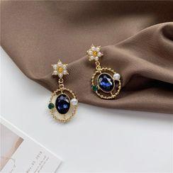 Madikara - Faux Pearl Faux Crystal Dangle Earring