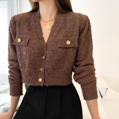 DABAGIRL(ダバガール) - Golden-Button Flurry Cropped Cardigan