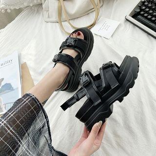 Anhan - Buckle Detail Ankle Strap Platform Sandals