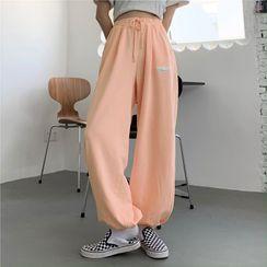 Florabbie - Lettering Drawstring Sweatpants