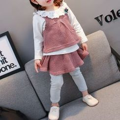 Hecto - Kids Set: Lace Collar Long-Sleeve Top + Sleeveless Top + Inset Leggings