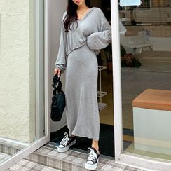 DEEPNY - Set: Drawcord Cropped Hoodie + Maxi Skirt