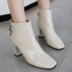 Weiya - 方形鞋頭粗跟及踝靴