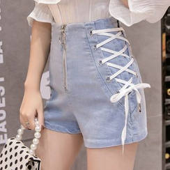 Isaaca - Lace-Up High-Waist Denim Shorts