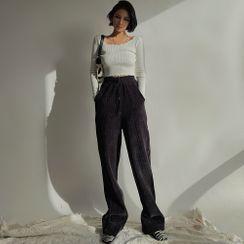 Colada - 加厚雪尼爾寬鬆直筒褲
