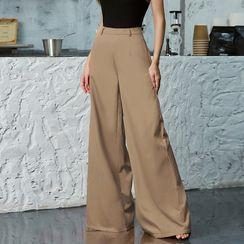 Double Crazy - High-Waist Plain Pants