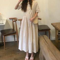 Caocaosuit - Short-Sleeve Button Midi A-Line Dress