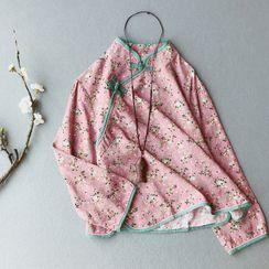 Vateddy - Floral Print Cheongsam Top