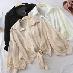 Superduper - Puff-Sleeve Sheer Shirt