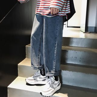 8th Sense - High-Waist Loose Fit Straight Cut Cropped Jeans