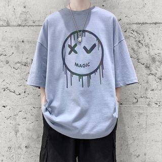 8th Sense - Elbow-Sleeve Printed T-Shirt