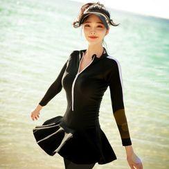 Shanyoo - 掛脖比基尼泳衣上衣 / 拉鏈細節長袖泳裙 / 長泳褲 / 套裝