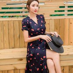 Moanum - 短袖櫻桃印花裹式連衣裙