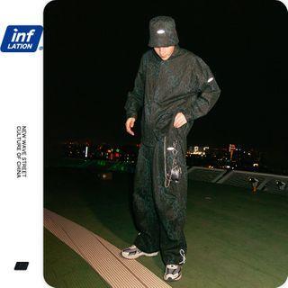 Newin(ニューイン) - Leopard-Print Loose Shirt / Drawstring Straight-Cut Pants