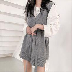 Zepto - Plain Knit Long Vest / Long-Sleeve Loose-Fit T-Shirt