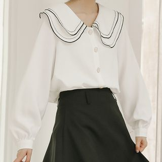 KIMOMIIN - Long-Sleeve Contrast Trim Blouse