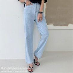 NAK21 - Washed Semi Wide-Leg Jeans