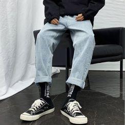 Ninine - 抽繩腰直筒牛仔褲