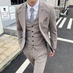 Deepwood - Suit Set: Plaid Blazer + Vest + Dress Pants