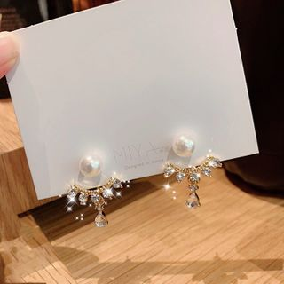 Poppin - 仿珍珠水钻摇摆耳环