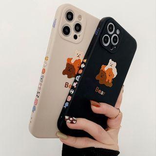 Primitivo - 熊印花手機保護套 - iPhone 12 Pro Max / 12 Pro / 12 / 12 mini / 11 Pro Max / 11 Pro / 11 / SE / XS Max / XS / XR / X / SE 2 / 8 / 8 Plus / 7 / 7 Plus