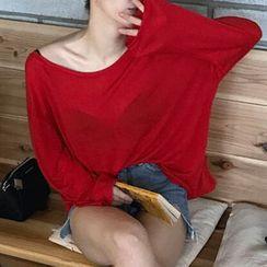 Themis - Plain Boat Neck Long-Sleeve T-Shirt