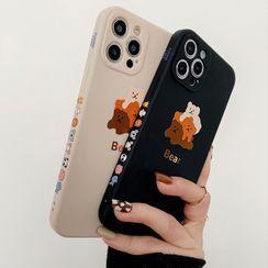 Primitivo - Bear Print Phone Case - iPhone 12 Pro Max / 12 Pro / 12 / 12 mini / 11 Pro Max / 11 Pro / 11 / SE / XS Max / XS / XR / X / SE 2 / 8 / 8 Plus / 7 / 7 Plus
