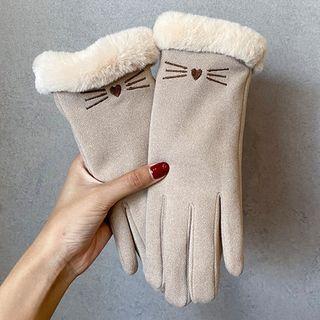 Kalamate - 猫刺绣抓毛里衬触屏手套