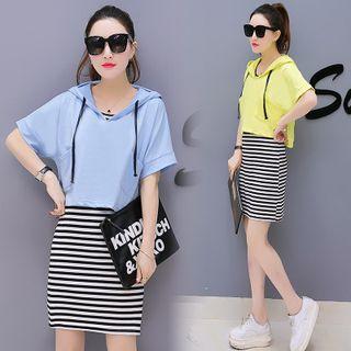 Sienne - Set: Short Sleeve Hoodie + Striped Tank Dress