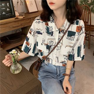KAKAGA - Retro Print Short Sleeve Shirt