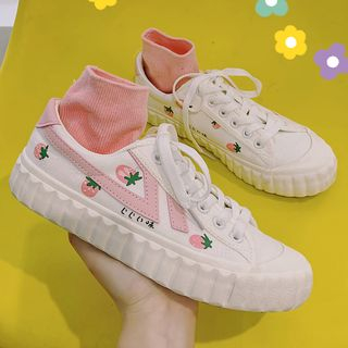 SouthBay Shoes - Strawberry Print Platform Sneakers