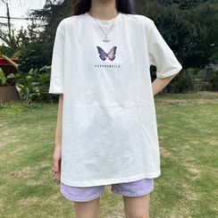 Piwonia - Butterfly Print Elbow-Sleeve T-Shirt
