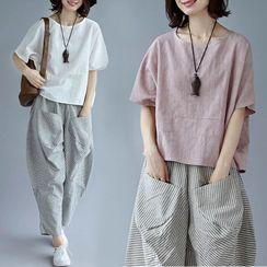 Bohomina - 純色短袖圓領上衣