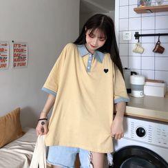 Iduna - Sweetheart Embroidered Short-Sleeve Polo Shirt