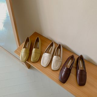 CHERRYKOKO - Square-Toe Banded Loafers