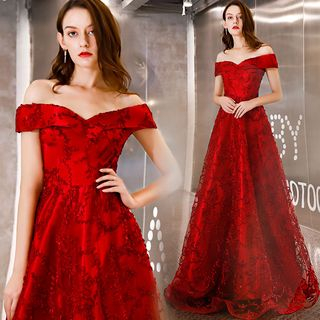 Sennyo - Off Shoulder Embroidered Evening Gown