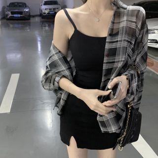 Breefriend - 格子衬衫 / 幼肩带迷你塑身连衣裙