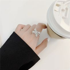 True Glam - Alloy Bow Open Ring / Pendant Necklace
