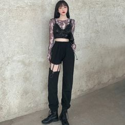 Jazzjo - 迷彩长袖网纱上衣 / 亮片吊带背心 / 镂空工装裤