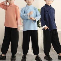 Snow Hymn - Kids Hanfu Set: Frog Button Shirt + Pants