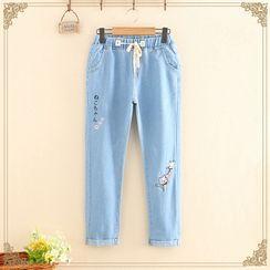 Kawaii Fairyland - 抽绳猫刺绣直筒牛仔裤