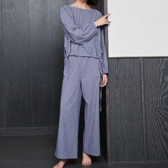 Cinni - 家居服套裝: 格子長袖T裇 + 褲子